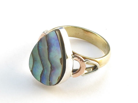 Design 114825 Wholesale Pear Abalone .925 Sterling Silver Jewelry Ring Size 5