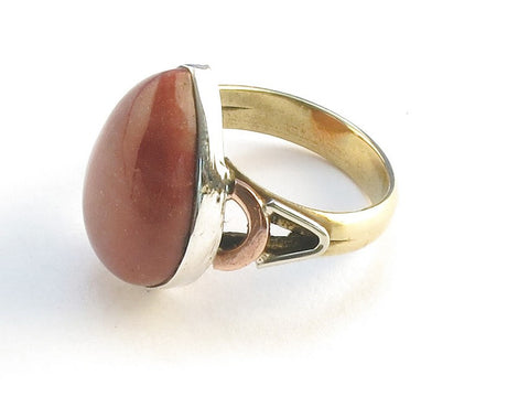 Design 114830 Glistening Pear Mookaite .925 Sterling Silver Jewelry Ring Size 5