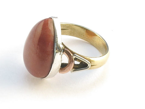 Design 114832 Wholesale Pear Mookaite .925 Sterling Silver Jewelry Ring Size 7