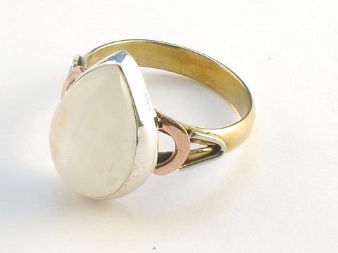 Design 114847 Lovely Pear Rainbow Moonstone .925 Sterling Silver Jewelry Ring Size 10