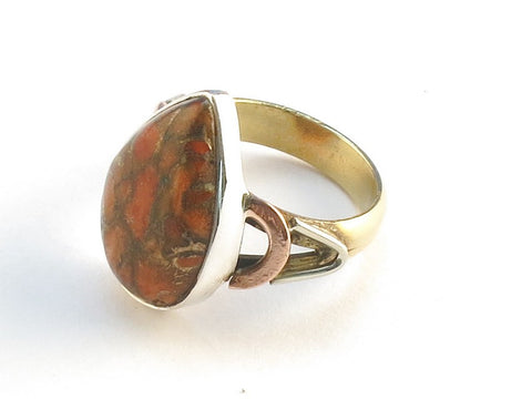 Design 114852 Lovely Pear Orange Copper Turquoise .925 Sterling Silver Jewelry Ring Size 9