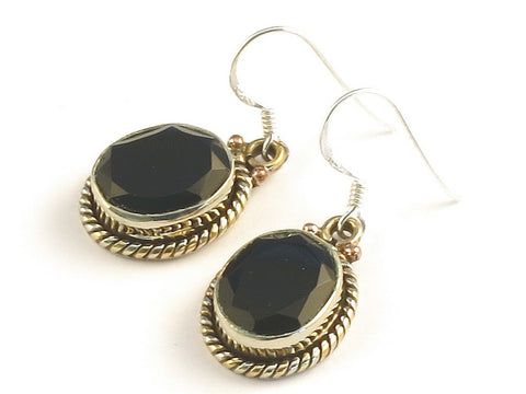 Design 115112 Unique Oval Black Onyx .925 Sterling Silver Jewelry Earrings 1 3/8""