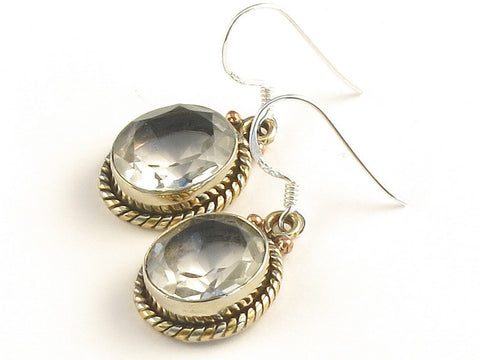 Design 115122 Special Oval White Topaz .925 Sterling Silver Jewelry Earrings 1 3/8""
