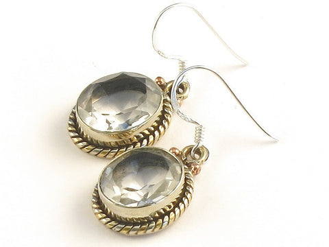 Design 115124 Jewelry Closeout Oval White Topaz .925 Sterling Silver Jewelry Earrings 1 3/8""