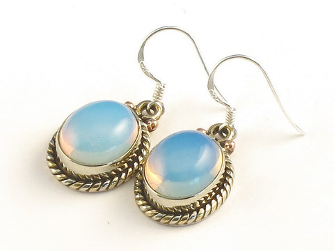 Design 115150 Handcrafted Oval Opalite .925 Sterling Silver Jewelry Earrings 1 3/8""
