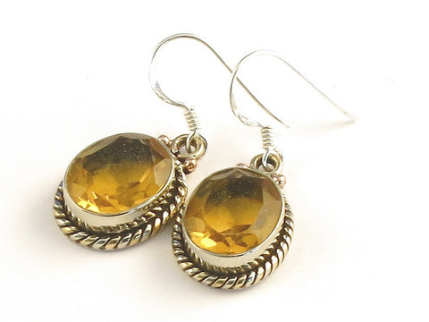 Design 115166 Jewelry Closeout Oval Citrine .925 Sterling Silver Jewelry Earrings 1 3/8""