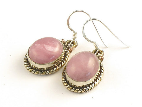 Design 115230 Lovely Oval Rhodocrosite .925 Sterling Silver Jewelry Earrings 1 3/8""