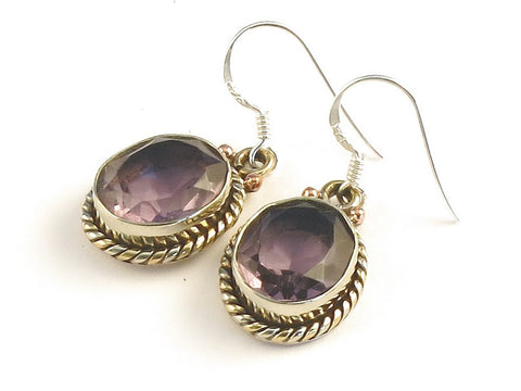 Design 115246 Premium Oval Pink Amethyst .925 Sterling Silver Jewelry Earrings 1 3/8""