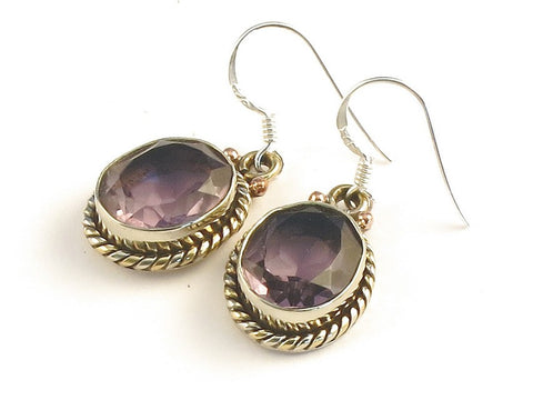 Design 115248 Special Oval Pink Amethyst .925 Sterling Silver Jewelry Earrings 1 3/8""