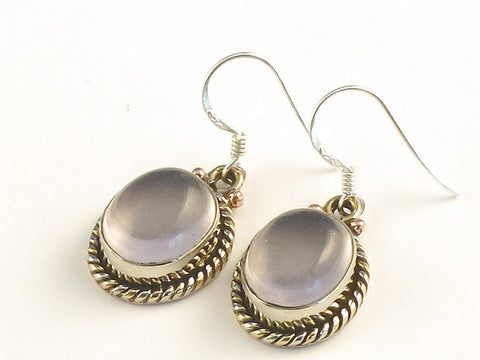 Design 115258 Original Oval Rose Quartz .925 Sterling Silver Jewelry Earrings 1 3/8""