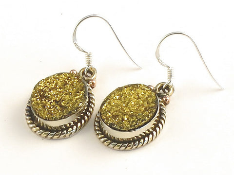 Design 115273 Glistening Oval Gold Drusy .925 Sterling Silver Jewelry Earrings 1 3/8""