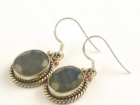 Design 115309 Premium Oval Labradorite .925 Sterling Silver Jewelry Earrings 1 3/8""