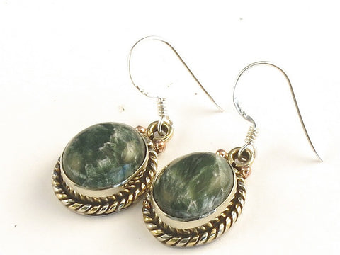 Design 115332 Special Oval Seraphinite .925 Sterling Silver Jewelry Earrings 1 3/8""