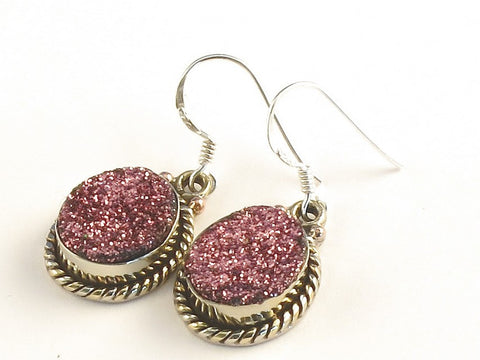 Design 115353 Special Oval Pink Drusy .925 Sterling Silver Jewelry Earrings 1 3/8""