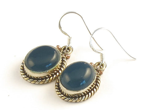 Design 115374 Special Oval Blue Chalcedony .925 Sterling Silver Jewelry Earrings 1 3/8""