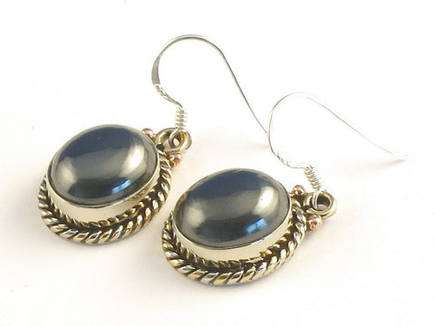 Design 115394 Exotic Oval Hematite .925 Sterling Silver Jewelry Earrings 1 3/8""