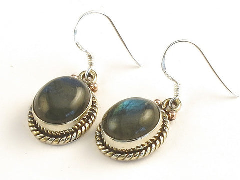 Design 115407 One-Of-A-Kind Oval Labradorite .925 Sterling Silver Jewelry Earrings 1 3/8""