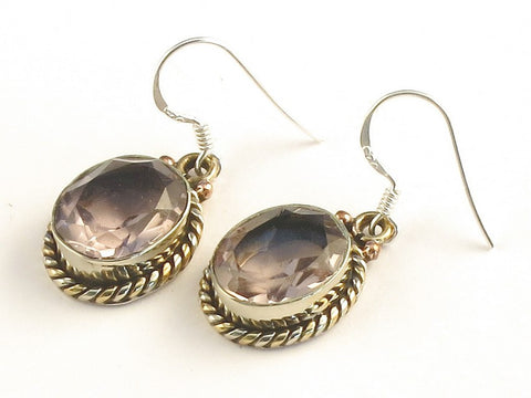 Design 115416 Special Oval Pink Amethyst .925 Sterling Silver Jewelry Earrings 1 3/8""
