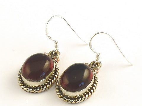Design 115431 Artistic Oval Garnet .925 Sterling Silver Jewelry Earrings 1 3/8""