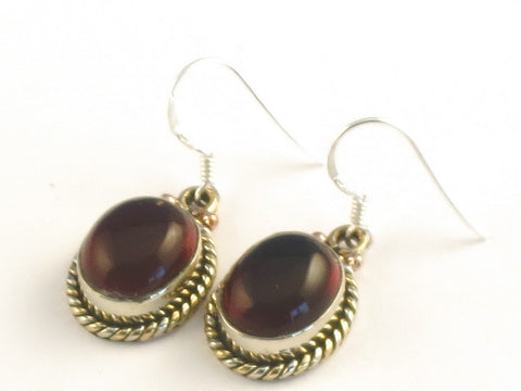 Design 115432 Fancy Oval Garnet .925 Sterling Silver Jewelry Earrings 1 3/8""