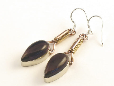 Design 115452 Artistic Pear Purple Amethyst .925 Sterling Silver Jewelry Earrings 2""