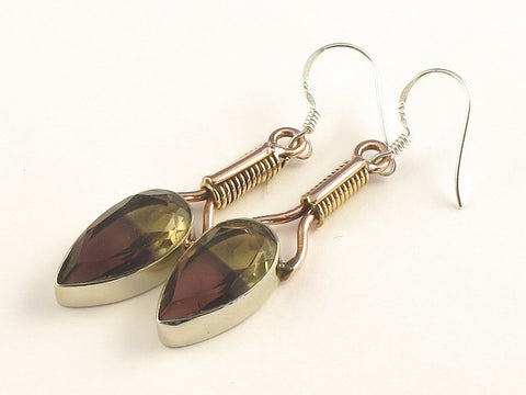 Design 115456 Premium Pear Ametrine .925 Sterling Silver Jewelry Earrings 2""