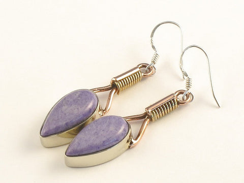 Design 115459 Jewelry Store Pear Charoite .925 Sterling Silver Jewelry Earrings 2""