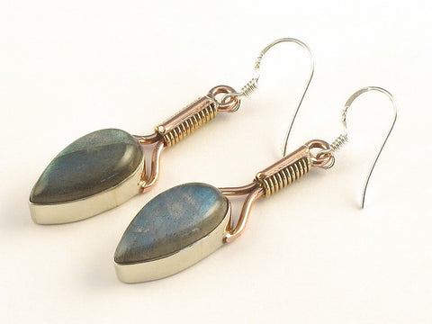 Design 115509 Jewelry Shop Pear Labradorite .925 Sterling Silver Jewelry Earrings 2""