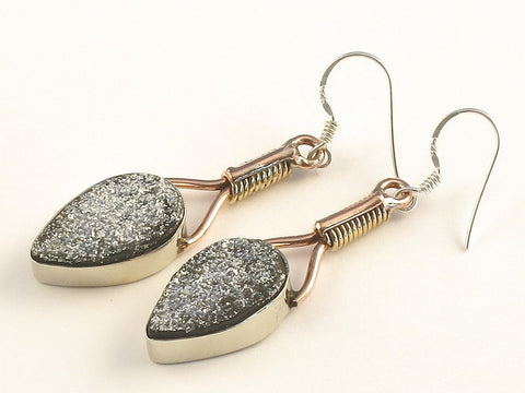 Design 115514 Made By Hand Pear Silver Drusy .925 Sterling Silver Jewelry Earrings 2""