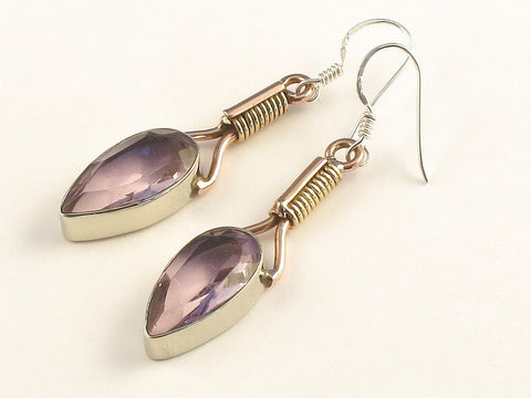 Design 115518 Fair Trade Pear Pink Amethyst .925 Sterling Silver Jewelry Earrings 2""