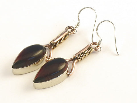 Design 115523 Jewelry Closeout Pear Garnet .925 Sterling Silver Jewelry Earrings 2""