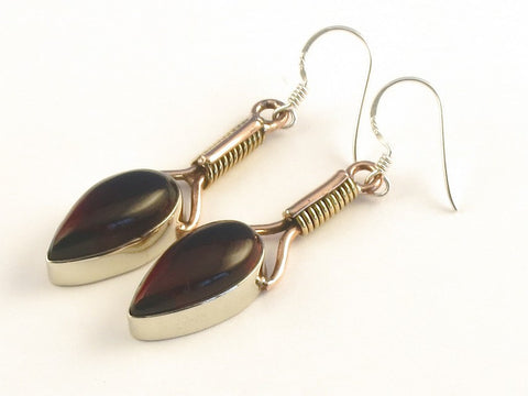 Design 115524 Lovely Pear Garnet .925 Sterling Silver Jewelry Earrings 2""