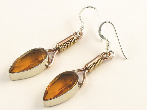 Design 115526 Shimmering Pear Golden Topaz .925 Sterling Silver Jewelry Earrings 2""