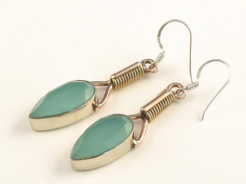 Design 115542 Special Pear Aquamarine .925 Sterling Silver Jewelry Earrings 2""