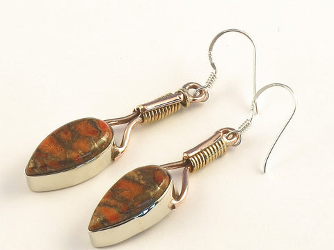 Design 115547 Shimmering Pear Orange Copper Turquoise .925 Sterling Silver Jewelry Earrings 2""