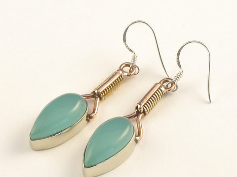Design 115567 Glistening Pear Aquamarine .925 Sterling Silver Jewelry Earrings 2""