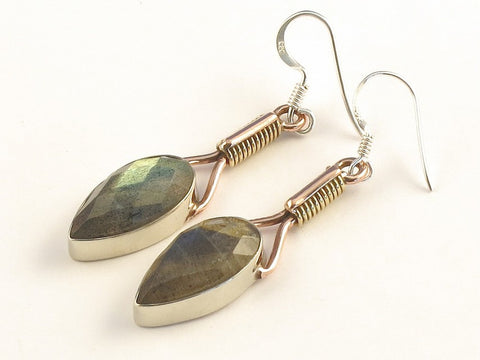 Design 115583 Exotic Pear Labradorite .925 Sterling Silver Jewelry Earrings 2""