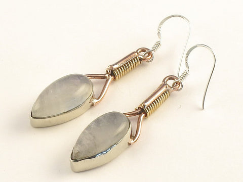 Design 115586 Jewelry Closeout Pear Rainbow Moonstone .925 Sterling Silver Jewelry Earrings 2""