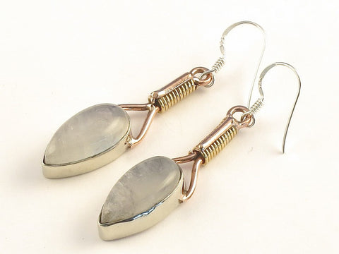 Design 115592 Artisan Jewelry Pear Rainbow Moonstone .925 Sterling Silver Jewelry Earrings 2""