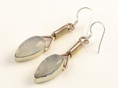 Design 115594 Original Pear Rainbow Moonstone .925 Sterling Silver Jewelry Earrings 2""