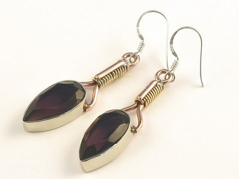 Design 115596 One-Of-A-Kind Pear Purple Amethyst .925 Sterling Silver Jewelry Earrings 2""