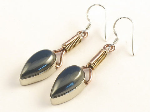 Design 115601 Premier Designs Pear Hematite .925 Sterling Silver Jewelry Earrings 2""