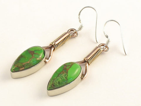 Design 115613 Artisan Jewelry Pear Green Copper Turquoise .925 Sterling Silver Jewelry Earrings 2""