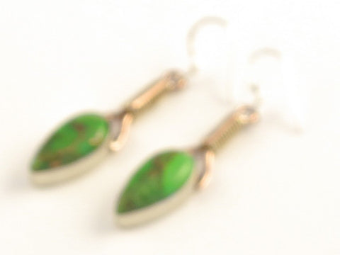Design 115616 Unique Pear Green Copper Turquoise .925 Sterling Silver Jewelry Earrings 2""