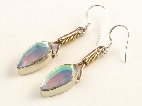Design 115638 One-Of-A-Kind Pear Rainbow Mysterious .925 Sterling Silver Jewelry Earrings 2""