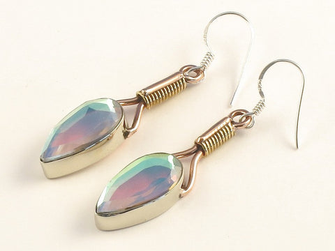 Design 115641 Artistic Pear Rainbow Mysterious .925 Sterling Silver Jewelry Earrings 2""