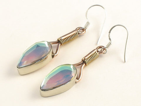 Design 115642 Fancy Pear Rainbow Mysterious .925 Sterling Silver Jewelry Earrings 2""