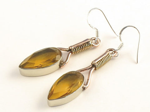 Design 115665 Fair Trade Pear Citrine .925 Sterling Silver Jewelry Earrings 2""