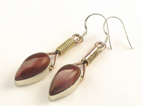 Design 115669 Jewelry Store Pear Mookaite .925 Sterling Silver Jewelry Earrings 2""