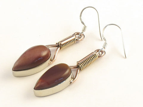 Design 115670 Jewelry Closeout Pear Mookaite .925 Sterling Silver Jewelry Earrings 2""